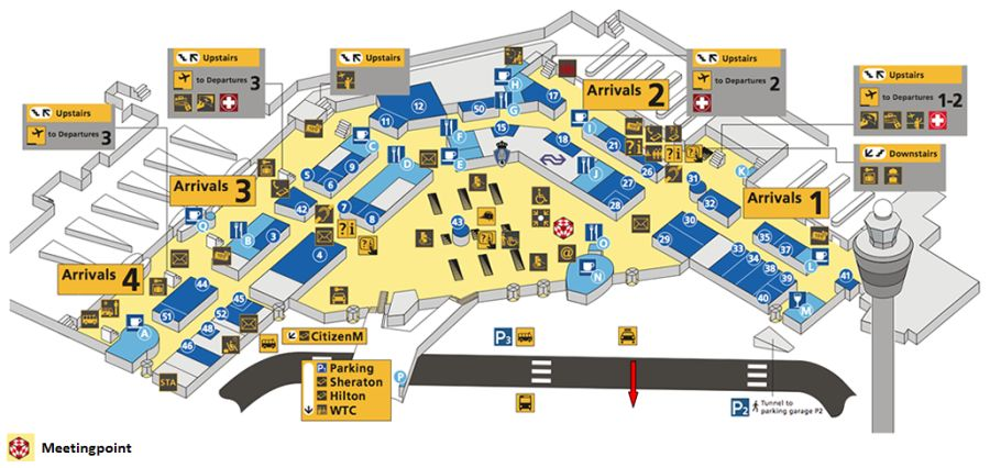 Schiphol Amsterdam Airport info map arrivals departures WiFi