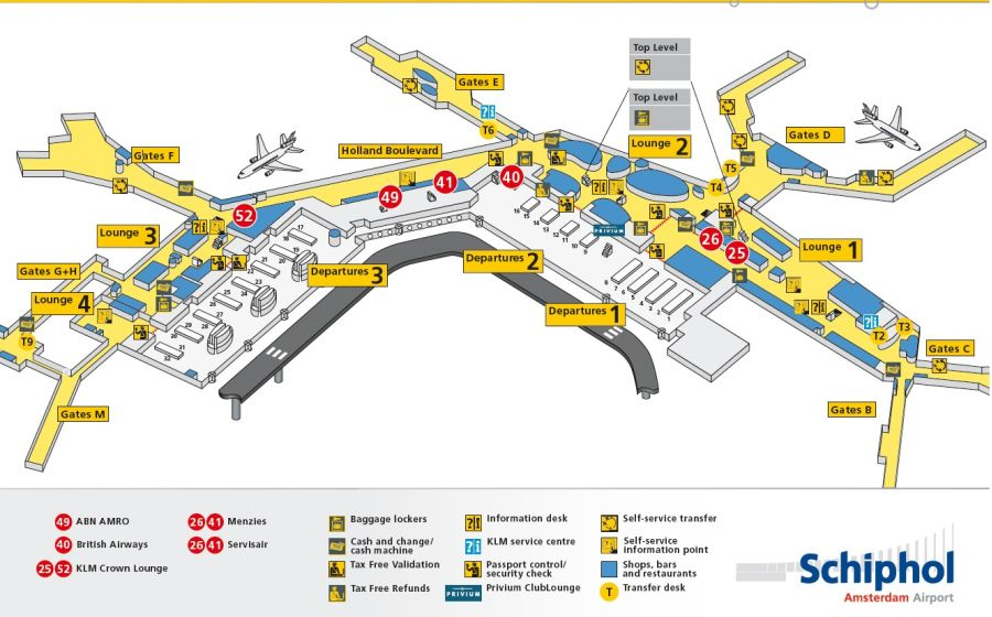 Schiphol Amsterdam Airport Info O A Plattegrond
