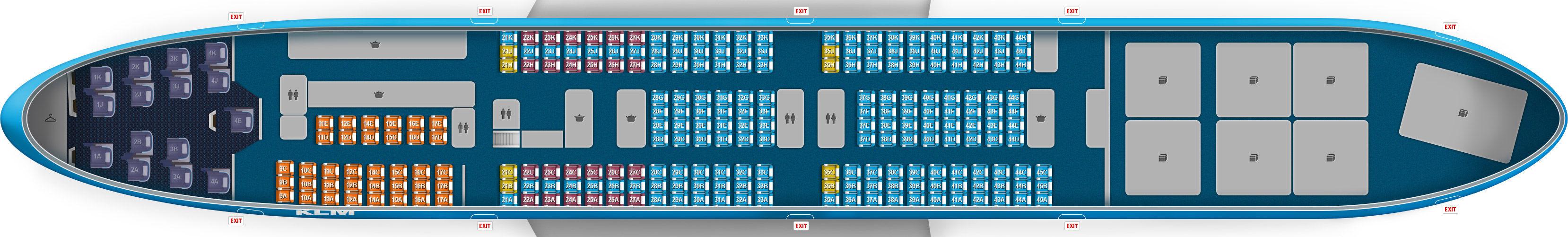 Klm vluchtschemas en stoelindelingen overzicht in en for Interieur 747 cargo